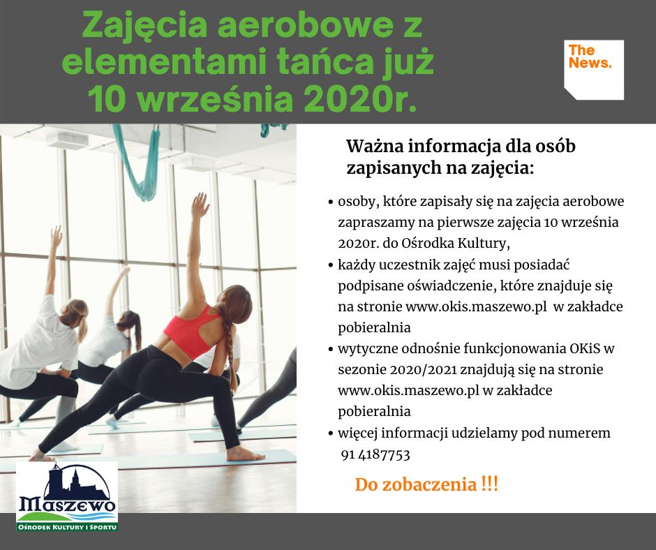 zajęcia aerobowe z elementami tańca dla dorosłych w sezonie 2020/2021